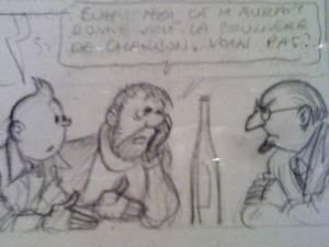 esquisse au crayon de Hergé